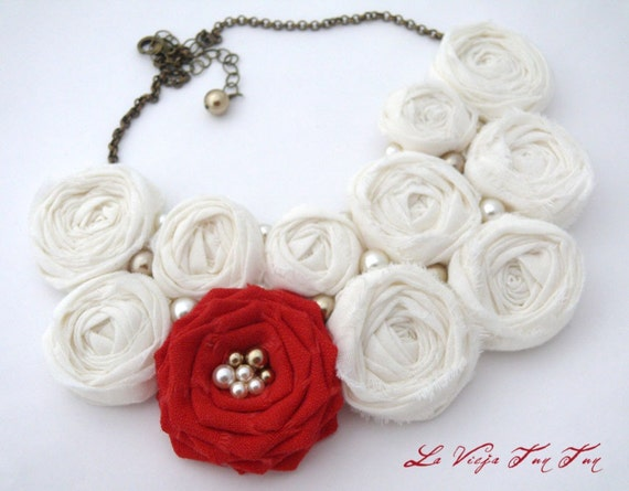 SALE Rosettes and a Single Red Rose Bouquet/ Statement Bib Necklace