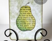 RESERVED for Nicole/Nikid - ACEO Original Watercolor Pear Fruit Painting Mixed Media Collage