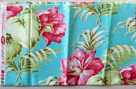 Fat Quarter Amy Butler Temple Flowers Hibiscus Aqua Pink Fabric Destash