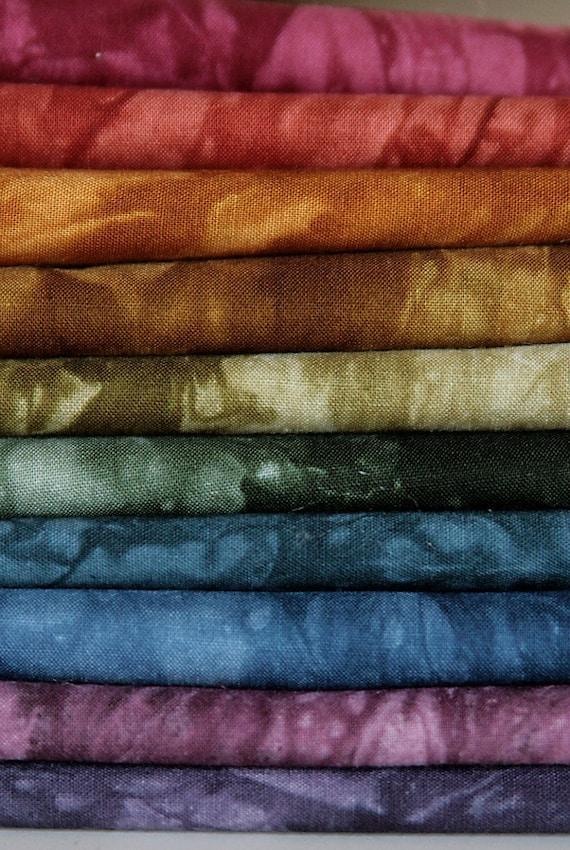 10 Fat Quarter Hand Dyed Fabric Bundle