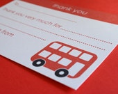 Little Red Bus 'Thank You' note cards