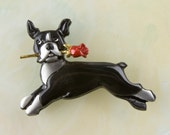 B425 Boston Terrier Pin / Pendant with a Red Rose