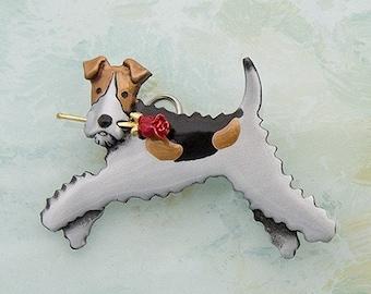 B464 Wire Fox Terrier Pin/pendant