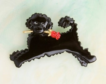 B448 Portuguese Water Dog  Pin  /  Pendant with a Red Rose