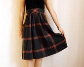 70's dark plaid skirt