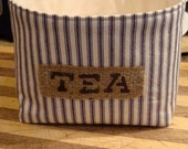 Country Farmhouse Fabric Basket for Tea in Blue Ticking with Stenciled Burlap Label