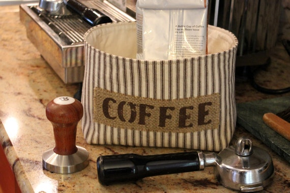 Brown and Ivory Ticking Country Farmhouse Fabric Coffee Basket with a Burlap Label