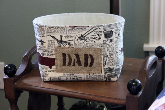 Fabric Container for Dad from Old Time Catalog Fabric