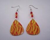 Fire - Guitar PIck Earrings (LAST ONE)