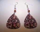 Pink Flowers and Swirls (Brown) - Guitar Pick Earrings