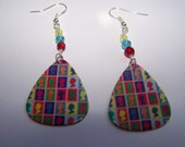 Queen of England Stamps - Guitar Pick Earrings