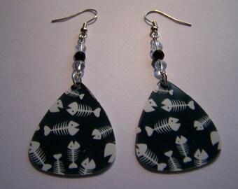 Fish Bones - Guitar Pick Earrings