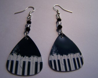 Piano  - Guitar Pick Earrings