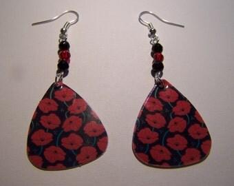 Poppies on Black  - Guitar Pick Earrings
