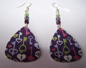 Lock and Key  - Guitar Pick Earrings