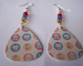 Cherry on Top Cupcake - Guitar Pick Earrings