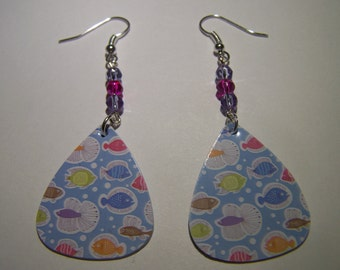 Tropical Fish - Guitar Pick Earrings