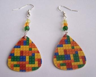 Lego Bricks - Guitar Pick Earrings