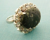 Ring, Pebble Beach Bling, Sideways, Repurposed Vintage Rhinestone