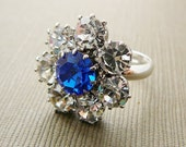 Ring, Flower, Sapphire Blue and Clear, Silvertone and Czech Rhinestones