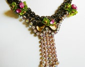 Garden Delight .. Two Strand Brass Necklace with Czech Glass and Rhinestones