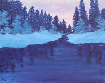 9x12 Original Acrylic Painting Winter Sunrise Wilderness Snow Covered Evergreens Slow moving river