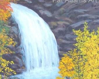 16x20 Original Acrylic Painting Looking Glass Falls Blue Ridge Autumn Red Orange Gold Yellow Green