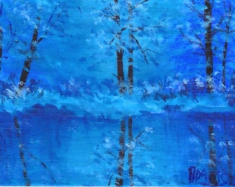 4x6 Small Format Art Winter Reflections Snow Blue white Quiet Beauty Acrylic Painting by Pat Adams