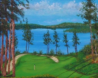 Oil Painting Coeur D'Alene golf course sand traps pine trees lake 12x12 Stretched Canvas