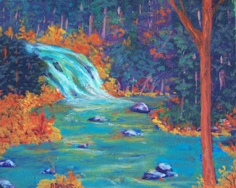 Yellowstone River Pines Trees Rocks Waterfall Original 8x10 Acrylic Fall Landscape Painting Orange Rust Red Blue