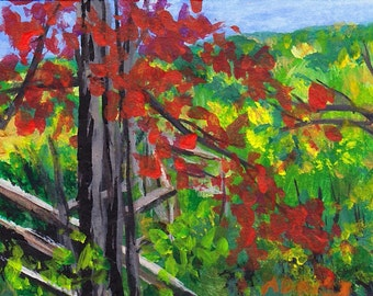ACEO Painting Autumn Fall Trees Red Gold Yellow Green Stairs Western North Carolina