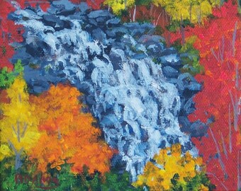 Autumn Fall Trees North Carolina Waterfall Painting SFA 4x5 Red Orange Yellow Gold