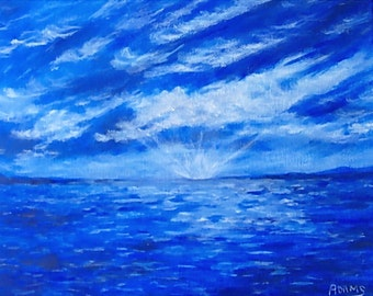 Water Reflections Clouds Surreal Explosion Blue White Sky OOAK Original Acrylic 8x10 Painting