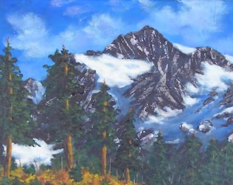 Artist Point Mountain Peaks Snow Blue Sky Pine Trees Autumn Fall Foliage Original Acrylic Art Landscape Painting FREE US SHIPPING