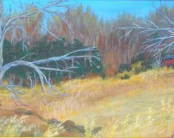 Original 10x20 Acrylic Painting Winter Landscape on canvas Grass Fields Red Barn Trees
