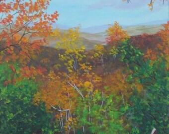11x14 Original Acrylic Painting Blue Ridge Mountains Graveyard Fields Red Orange Gold