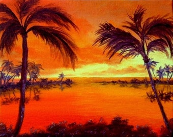 Hawaii Palm Trees Ocean Water Sunset Tropical Orange Yellow Red Lagoon 8x10 original oil painting FREE US SHIPPING