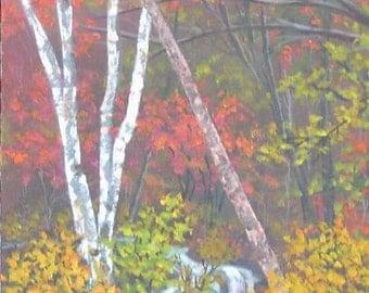 Autumn Fall Blue Ridge Mountain Woodland Orange Yellow Red 11x14 Original Acrylic Landscape Painting