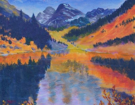 Maroon Bells Fall Colorado Mountain Lake Reflections Painting