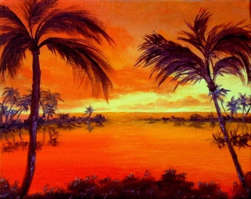 Hawaii Palm Trees Ocean Water Sunset Tropical Orange Yellow  Hawaiian Palm Tree Drawings