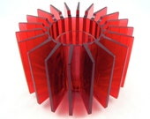 Radiate - Vintage 70s Red Lucite Votive Candleholder, Great Mid Century Modern Radiating Fins Design