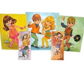 "Teen Dance Party - Set of 5 Vintage 60s Teen Dance Party Litho Pictures with Mod-A-Go-Go Big Eye Kids, Signed Lee and Kwatz, Large 20""x16"""