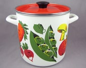 Happy Food - Vintage Enamel Veggie Steamer Pot with Anthropomorphic Vegetables & Seafood, Orange Lid, Includes Steam Basket, Like New