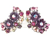 Plum Pretty - Vintage 50s-60s Clip On Earrings, Purple & Pink Enamel Flowers w/ Aurora Borealis Rhinestones, Large and Stunning, Signed BSK