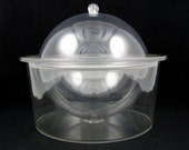Clear Sphere - Vintage 1970s Lucite Orb Ice Bucket or Food Server, Mid Century Modern Stylized Barware, 3 Piece Covered Buffet Dish