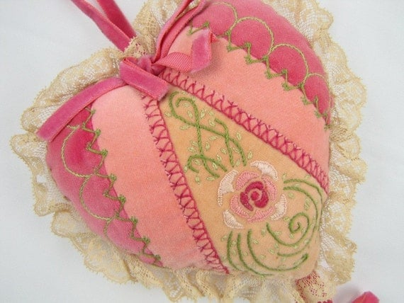 Dear Heart - Vintage Pink Velvet Pillow Ornament with Hand Embroidered Rose and Lace, Intricately Detailed & Finely Made, Signed