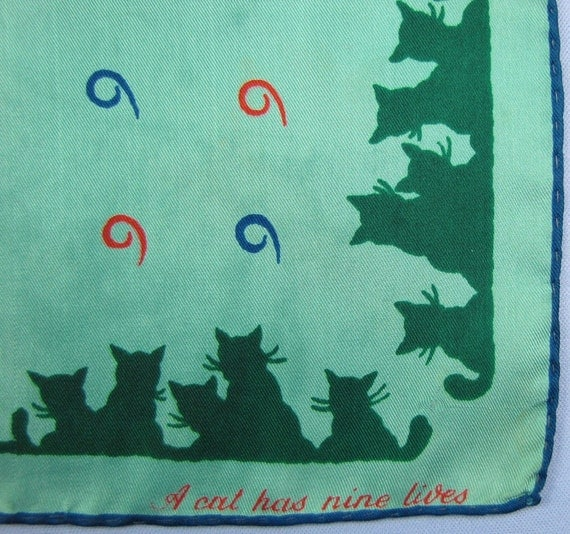 A Cat Has Nine Lives - Vintage Silk Scarf Illustrating the Old Saying