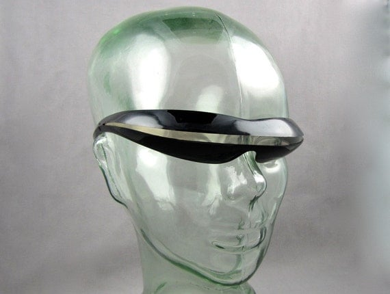 We Are Devo - Vintage 80s New Wave Sunglasses, SciFi Robot Wraparound Slit by Sea & Ski, Futurist Fashion