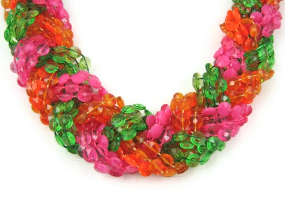 Go Dayglo - Vintage 60s Long Neon Necklace, Braided Plastic Beads, 1 Yard Long, Psychedelic Statement Piece, 3 Necklaces in 1