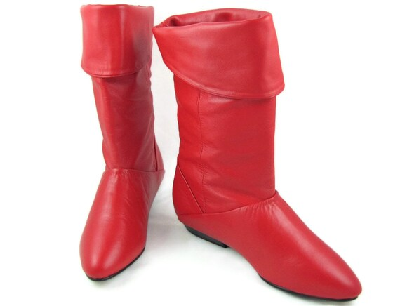 Avast - Vintage 1980s Pirate Boots, Cherry Red Leather with Optional Turn Down Cuffs, Flat Soles, Never Worn, by Life Stride, Size 5 M